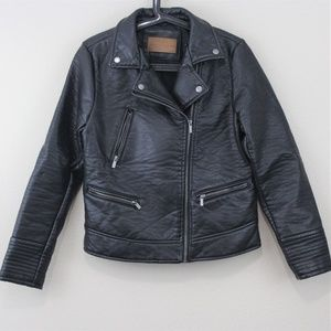 Zara Faux Leather Black Biker Jacket J226